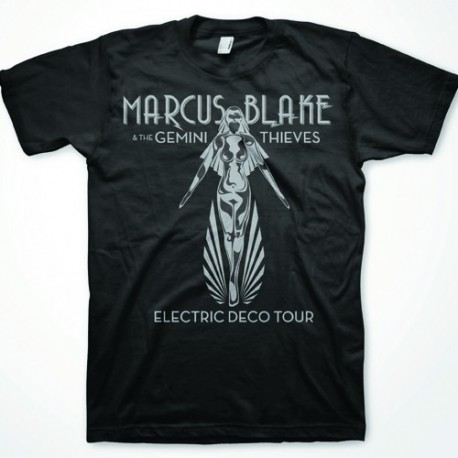 MARCUS BLAKE. Electric Deco Tour T-shirt BLACK